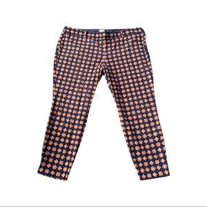 J.Crew cotton stretch patterned capri pants side zip Size 20